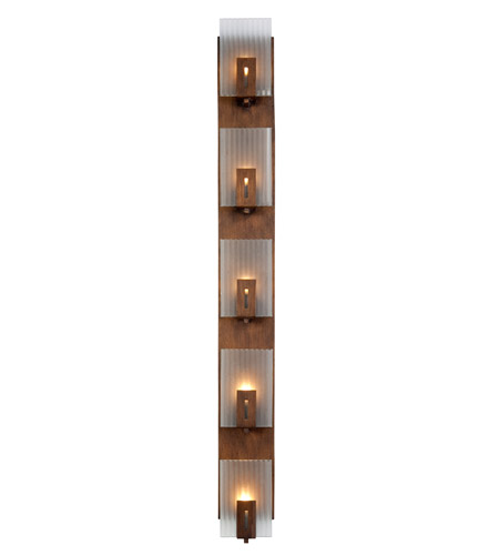 Recycled Varaluz Illusion Bath Light - Vertical Five Light in Hammered Ore 177W05 photo