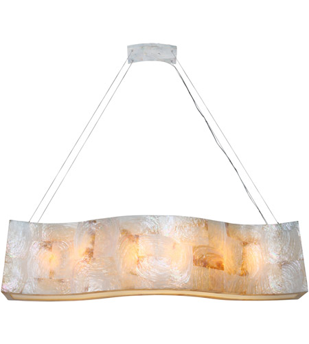 Varaluz Big 6 Light Linear Pendant in Reclaimed Kabebe Shell 178N06A photo