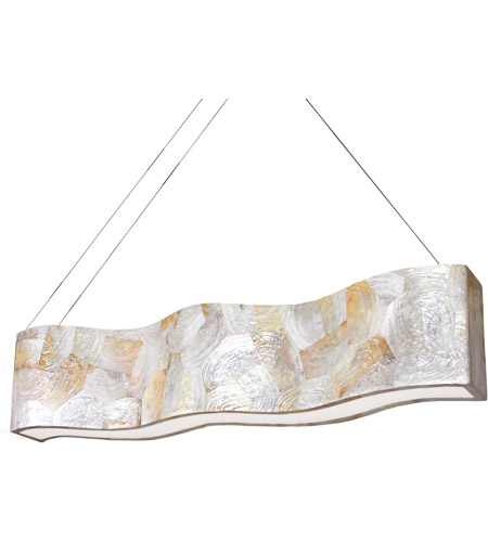 Varaluz Big 8 Light Linear Pendant in Reclaimed Kabebe Shell 178N07A photo