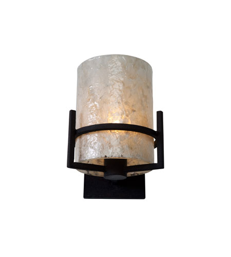 Recycled Varaluz Sundance Wall Sconce - One Light w/ Garlic Infusion in Black Diamond 183W01 photo