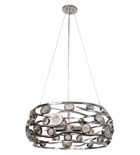 Varaluz Swank 4 Light Pendant Artisanal Hand-Worked Chrome with Recycled Champagne Glass 210P04CH photo
