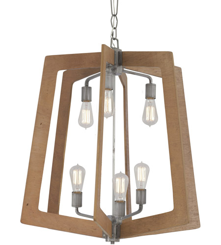 Varaluz 268F06SLW Lofty 6 Light 26 inch Wheat and Steel Foyer Chandelier Ceiling Light photo