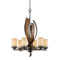 Varaluz Aizen 6 Light Chandelier in Hammered Ore w/ Aspen Bronze Accents 112C06B