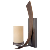 Varaluz Aizen 1 Light Sconce in Hammered Ore w/ Aspen Bronze Accents 112W01B