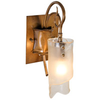 Varaluz 126B01HO Soho 1 Light 5 inch Hammered Ore Vanity Wall Light in Recycled Brown Tint Ice Glass photo thumbnail