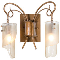 Soho 2 Light 15 inch Hammered Ore Vanity Wall Light in Recycled Brown Tint Ice Glass