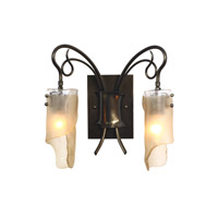 Soho 2 Light 15 inch Statue Garden Vanity Wall Light in Recycled Brown Tint Ice