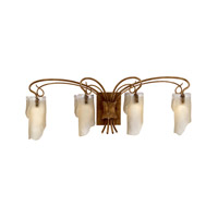Soho 4 Light 35 inch Hammered Ore Vanity Wall Light in Recycled Brown Tint Ice Glass