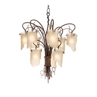 Varaluz Soho 9 Light Chandelier in Hammered Ore 126C09HO