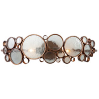 Fascination 2 Light 25 inch Hammered Ore Vanity Wall Light in Recycled Clear Bottle Glass