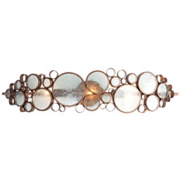 Fascination 3 Light 34 inch Hammered Ore Vanity Wall Light in Recycled Clear Bottle Glass