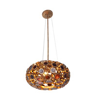 Fascination 3 Light 18 inch Kolorado Pendant Ceiling Light in Recycled Amber Bottle Glass