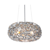 Varaluz 165C03SNV Fascination 3 Light 18 inch Nevada Silver with Random Silver Leafing Pendant Ceiling Light in Recycled Clear Bottle Glass alternative photo thumbnail