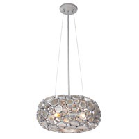 Varaluz 165C03SNV Fascination 3 Light 18 inch Nevada Silver with Random Silver Leafing Pendant Ceiling Light in Recycled Clear Bottle Glass photo thumbnail