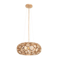 Fascination 3 Light 18 inch Zen Gold Pendant Ceiling Light in Recycled Champagne Bottle Glass