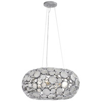 Fascination 4 Light 24 inch Metallic Silver Donut Pendant Ceiling Light, Recycled Clear Glass