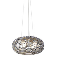 Fascination 4 Light 24 inch Nevada Silver with Random Silver Leafing Chandelier Ceiling Light