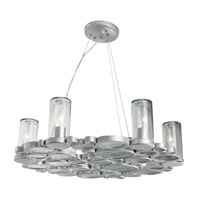 Varaluz Fascination 6 Light Chandelier in Nevada Silver with Random Silver Leafing 165C06
