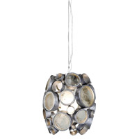 Varaluz Fascination 1 Light Mini Pendant in Nevada Silver with Random Silver Leafing 165M01