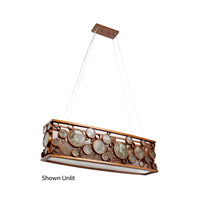 Fascination 4 Light 36 inch Hammered Ore Linear Pendant Ceiling Light in Recycled Clear Bottle Glass