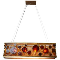 Fascination 4 Light 36 inch Kolorado Linear Pendant Ceiling Light in Recycled Amber Bottle Glass