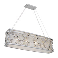 Fascination 4 Light 36 inch Metallic Silver Pendant Ceiling Light in Recycled Clear Bottle Glass