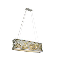 Fascination 4 Light 36 inch Nevada Silver with Random Silver Leafing Linear Pendant Ceiling Light in Recycled Clear Bottle Glass