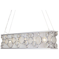 Fascination 5 Light 48 inch Metallic Silver Linear Pendant Ceiling Light, Recycled Clear Glass