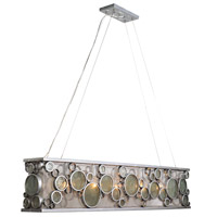 Fascination 5 Light 48 inch Nevada Silver with Random Silver Leafing Linear Pendant Ceiling Light