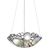 Fascination 3 Light 20 inch Nevada Silver with Random Silver Leafing Pendant Ceiling Light