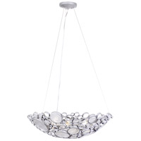 Fascination 4 Light 27 inch Metallic Silver Bowl Pendant Ceiling Light, Recycled Clear Glass