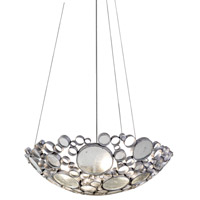 Fascination 4 Light 27 inch Nevada Silver with Random Silver Leafing Pendant Ceiling Light