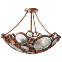Fascination 3 Light 20 inch Hammered Ore Semiflush Ceiling Light
