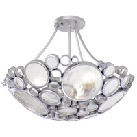 Fascination 3 Light 20 inch Metallic Silver Flush Mount Ceiling Light, Recycled Clear Glass