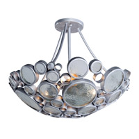 Fascination 3 Light 20 inch Nevada Silver with Random Silver Leafing Semiflush Ceiling Light