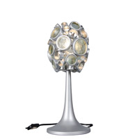 Fascination 18 inch 100 watt Nevada Silver with Random Silver Leafing Table Lamp Portable Light in Recycled Clear Bottle