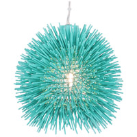 Varaluz Urchin 1 Light Mini Pendant in Aqua Velvet 169M01AQ