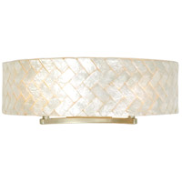 Radius 2 Light 23 inch Gold Dust Vanity Wall Light in Sustainable Herringbone of Natural Capiz Shell
