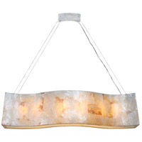 Varaluz 178N06A Big 6 Light 48 inch Linear Pendant Ceiling Light in Reclaimed Kabebe Shell