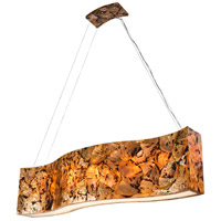 Big 6 Light 48 inch Linear Pendant Ceiling Light in Reclaimed Chocolate Tiger Shell