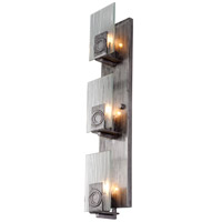 Polar 3 Light 5 inch Blackened Silver Vanity Wall Light