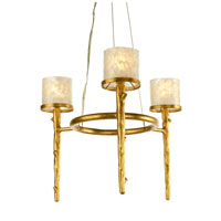 Recycled Varaluz Adura Halogen Chandelier - Three Light w/ Garlic Infusion in California Birch 189C03 photo thumbnail