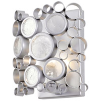 Fascination 1 Light 8 inch Metallic Silver Vanity Wall Light, Recycled Clear Glass