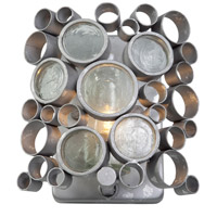 Fascination 1 Light 8 inch Nevada Silver with Random Silver Leafing Vanity Wall Light in Recycled Half-Frosted Cylinder