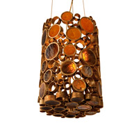 Fascination 3 Light 10 inch Kolorado Pendant Ceiling Light in Recycled Amber Bottle Glass