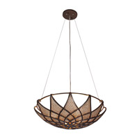 Varaluz Argyle 3 Light Pendant in New Bronze w/ Desert Pearl 203P03