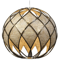 Varaluz Argyle 6 Light Pendant in New Bronze w/ Desert Pearl 203P06