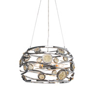 Varaluz Swank 3 Light Pendant Artisanal Hand-Worked Chrome with Recycled Champagne Glass 210P03CH