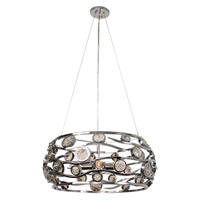 Varaluz Swank 4 Light Pendant Artisanal Hand-Worked Chrome with Recycled Champagne Glass 210P04CH