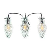 Varaluz Vintage 3 Light Vanity Artisanal Hand-Worked Chrome with Recycled Small Spiral Glass 215B03CH